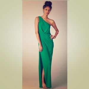 BCBG One-Shoulder Emerald Gown